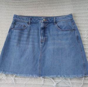 OLD NAVY denim A line jean skirt raw edge 14